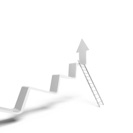 going up: Broken trend line going up, metal ladder stands leaning. 3d illustration isolated on white background