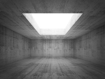 Abstract architecture background, symmetric empty dark concrete room interior with white opening in ceiling, 3d illustration