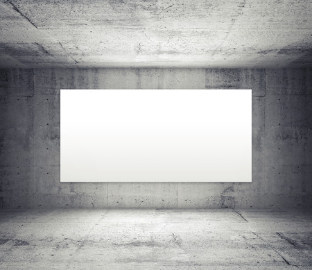 concrete floor: Abstract gray interior of empty room with concrete walls and illuminated wide white screen Stock Photo