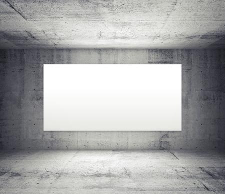 concrete: Interior gris abstracta de la habitación vacía con paredes de concreto y amplia pantalla blanca iluminada