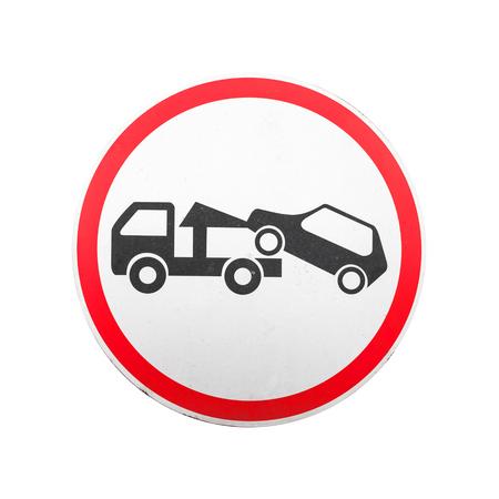 evacuation: Evacuaci�n en gr�a. Redondo rojo, negro y blanco, signo de carreteras aisladas sobre fondo blanco
