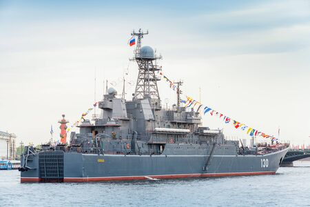 SaintPetersburg Russia May July 2015: Warship on the Neva River in anticipation of the military parade of naval forces. Ropuchaclass landing ship or Project 775 large landing craft Editorial