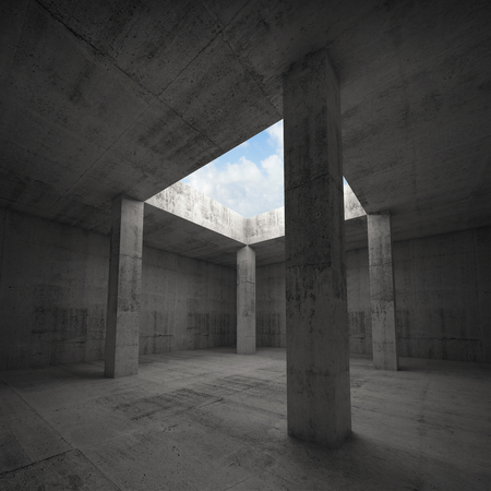 window opening: Abstract architecture 3d illustration, dark concrete room interior with columns and empty window opening in ceiling, bright blue sky outside