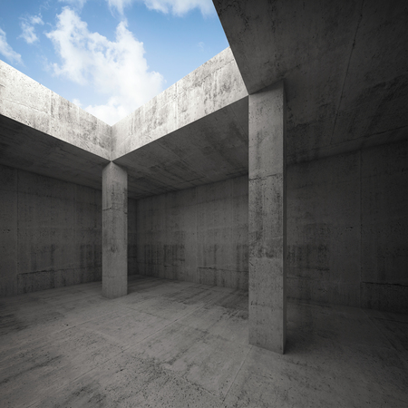 window opening: Abstract architecture, dark concrete room interior with columns and empty window opening in ceiling, 3d illustration, bright blue sky outside