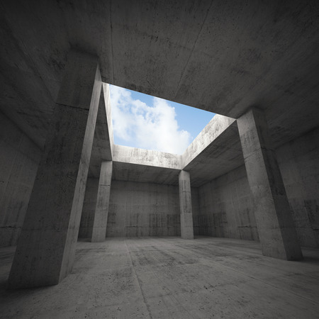 window opening: Abstract architecture, dark concrete room interior with columns and empty window opening in ceiling, 3d illustration, blue sky outside Stock Photo