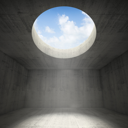 ceiling light: Abstract empty dark concrete 3d illustration interior background with sky light going through the round hole in a ceiling Stock Photo