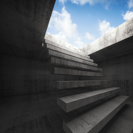 Flying stairway to heaven, abstract empty dark concrete 3d illustration interior background Stock Photo