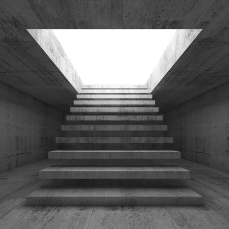 going up: Abstract empty dark concrete 3d illustration interior background with stairway going up and out, front view Stock Photo