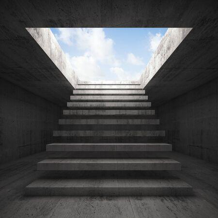 heaven: Escalera al cielo, abstracto oscuro vac�o concreto 3d fondo interior, vista frontal Foto de archivo