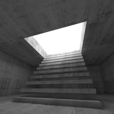 going up: Abstract empty dark concrete 3d illustration interior background with stairway going up and out