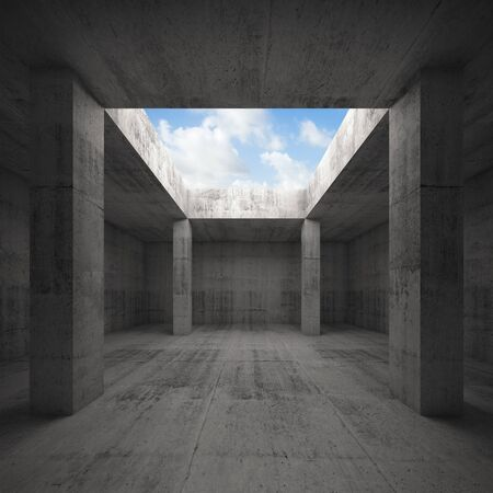 window opening: Abstract architecture 3d illustration, dark concrete room interior with columns and empty window opening in ceiling, blue sky outside Stock Photo