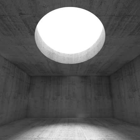 window hole: Abstract empty dark concrete 3d illustration interior background with light going through the round hole in a ceiling