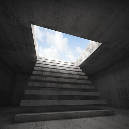 stairway to heaven: Stairway to heaven, abstract empty dark concrete 3d illustration interior background Stock Photo