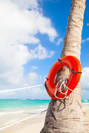 beach buoy: Red round life buoy hanging on the palm tree, sandy beach of Dominican republic Stock Photo