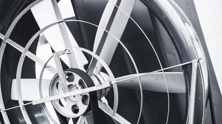 aéroglisseur: Hovercraft hélice avec courroie de traction, fermer fragment noir et blanc