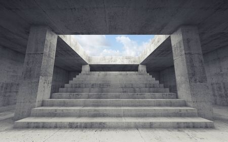 way out: Abstract empty dark concrete interior background with columns and the stairway going up to the sky,  3d render illustration Stock Photo