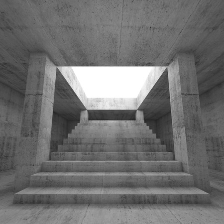 skylight: Abstract empty dark concrete interior background with columns and the stairway going up to the light,  3d render illustration