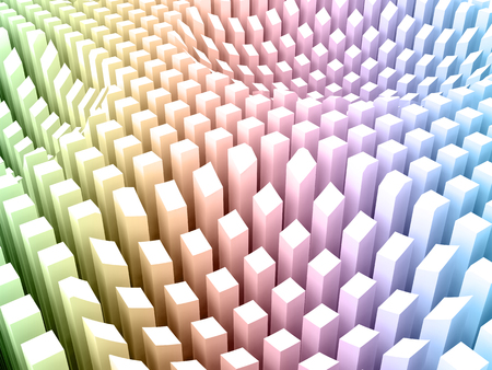 array: Abstract digital background with curved surface formed by top sides of colorful gradient toned columns area array, digital 3d illustration