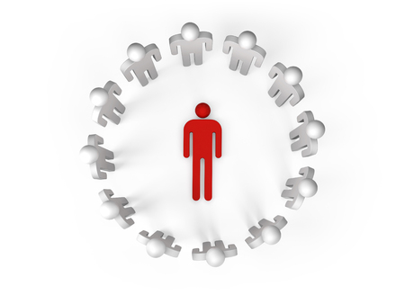 ring stand: Twelve abstract white 3d people stand in ring with one red lying person inside isolated on white, top view