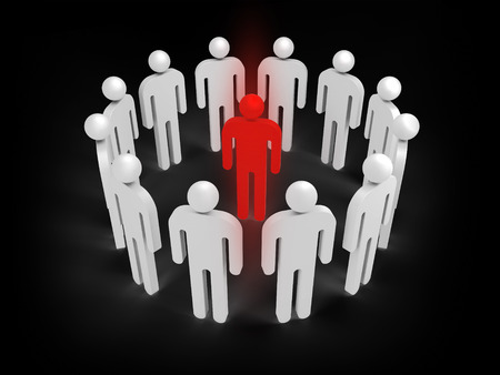 condemnation: Twelve abstract white 3d people figures stand in ring with one red person inside isolated on black. Illustration concept of virus infection, individuality, condemnation