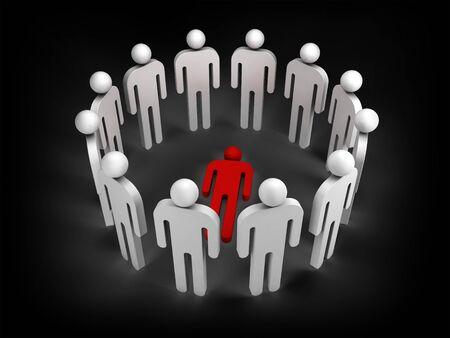 outsider: Twelve abstract white 3d people stand in ring with one red lying person inside isolated on black Stock Photo