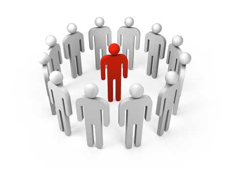 outsider: Twelve abstract white 3d people figures stand in ring with one red person inside isolated on white. Illustration concept of leadership, teamwork, individuality, condemnation, social network business Stock Photo