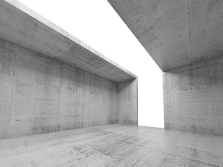 skylight: Abstract architecture background, empty concrete room interior with white opening in ceiling and wall, 3d illustration