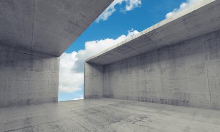 アーキテクチャの背景を抽象化、空の天井と壁、3 d イラストレーションの開口部とコンクリートの部屋のインテリア