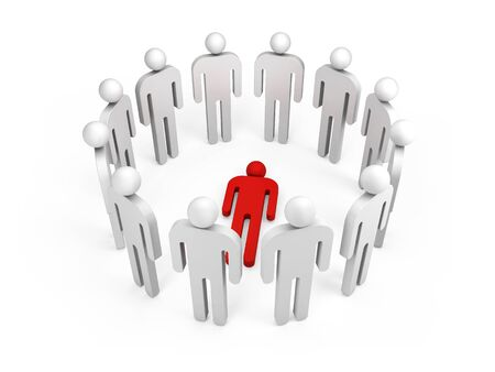 ring stand: Twelve abstract white 3d people stand in ring with one red lying person inside isolated on white
