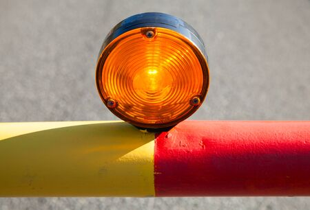 no way: Red light on the automatic road barrier, no way signal