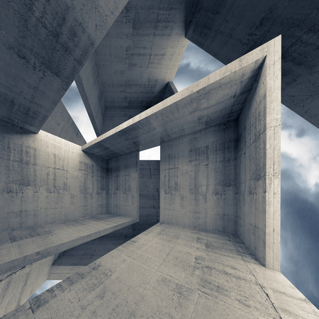 Abstract architecture, empty concrete interior with dark moody sky on a background, 3d illustration Foto de archivo