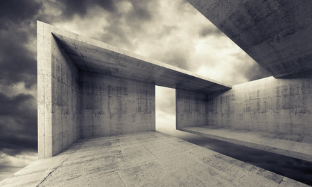 moody: Abstract architecture background, empty concrete interior with dark moody sky outside, monochrome 3d illustration