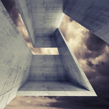 moody: Abstract square architecture background, empty concrete interior with dark moody sky outside, 3d illustration