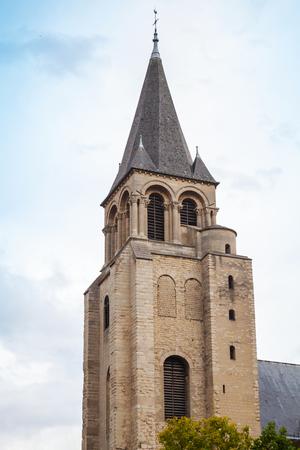 pres: Medieval bell tower exterior. Abbey of Saint-Germain-des-Pres, Paris, France Stock Photo