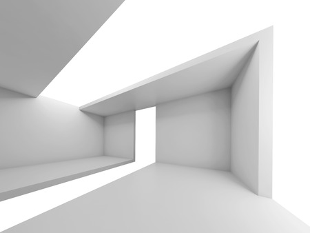 Abstract architecture, empty futuristic interior, white background, 3d illustration
