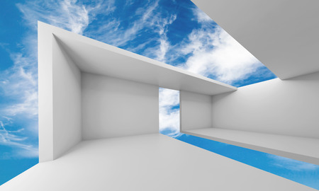Abstract architecture, empty white futuristic interior and blue sky on a background, 3d illustration Standard-Bild
