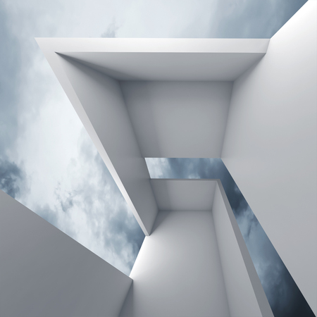 futuristic interior: Abstract architecture, empty white futuristic interior and blue cloudy sky on a background, 3d illustration