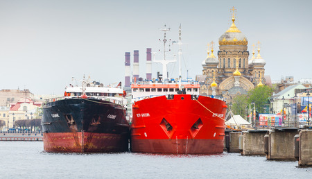 ship bow: Saint-Petersburg, Russia - May 07, 2015: big cargo ships stand moored on the Neva river