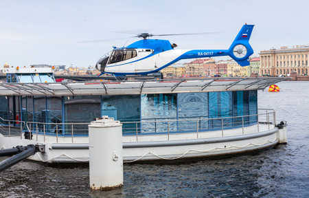 helipad: Saint-Petersburg, Russia - May 07, 2015: floating helipad on the Neva river in central part of Petersburg