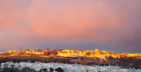 ourdoor: Bright sunset landscape in Tangier, Morocco