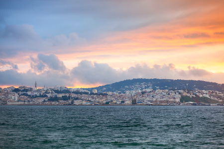 ourdoor: Bright sunset sky over Tangier city, Morocco, Africa Stock Photo