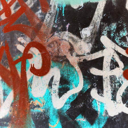 Abstract dark graffiti square fragment, vintage tonal photo filter effect, retro style