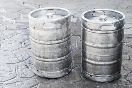 real ale: Used aluminum kegs, small barrels commonly used to store, transport, and serve beer Stock Photo