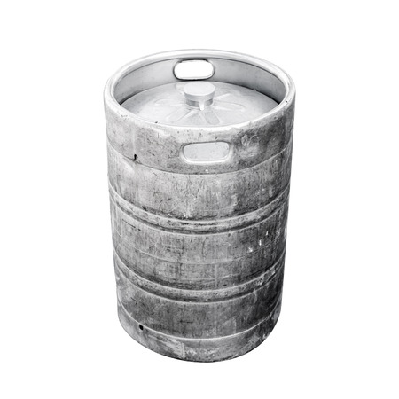 real ale: Used aluminum keg, a small barrel commonly used to store, transport, and serve beer. Closeup photo isolated on white Stock Photo