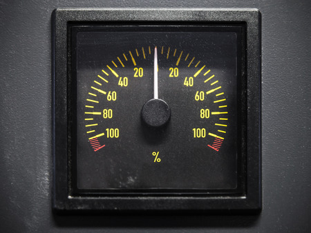 lighted: Lighted navigation pitch indicator scale, selective focus, front view Stock Photo
