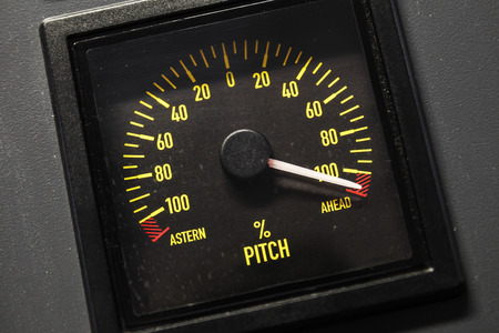lighted: Lighted navigation pitch indicator scale, selective focus