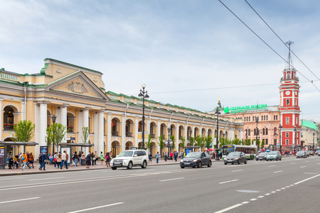Saint-Petersburg, Russia - May 26, 2015: Nevsky prospect, cityscape with the Great Gostiny Dvor facade and clock tower in St. Petersburg
