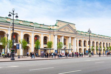 Saint-Petersburg, Russia - May 26, 2015: The Great Gostiny Dvor facade, famous touristic trade center in St. Petersburg, Nevsky prospect