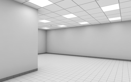 interior spaces: Abstract empty office room interior with white walls, ceiling lights and floor tiling, 3d illustration Stock Photo