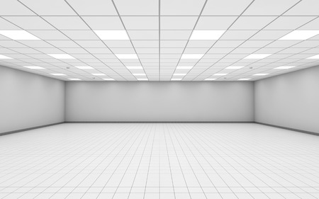 wide: Abstract wide empty office room interior with white walls, ceiling illumination and floor tiling, 3d illustration